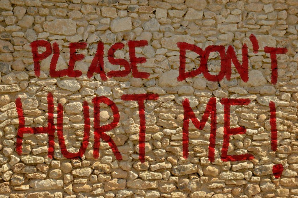 Mauer mit großer roter Schrift: Please don't hurt me!