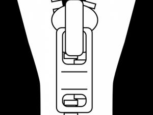 Das Zeichenmuster eines Reißverschlusses